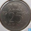 Coins - the Netherlands - Netherlands 25 cents 1964