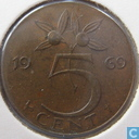 Coins - the Netherlands - Netherlands 5 cent 1969 (Rooster)