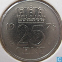 Coins - the Netherlands - Netherlands 25 cents 1973