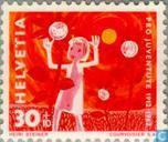 Briefmarken - Schweiz [CHE] - Kind zwischen blumen