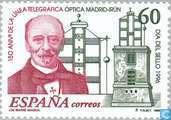 Timbres-poste - Espagne [ESP] - Journée du timbre - 150 ans ligne télégraphique optique
