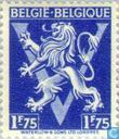 """Heraldic lion upon V, """"BELGIË BELGIQUE"""""""