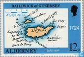 Timbres-poste - Aurigny - Cartes géographiques