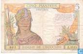 Banknotes - Banque de L´Indochine - French Indochina 5 piastres