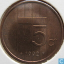 Coins - the Netherlands - Netherlands 5 cents 1992