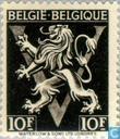 "Postage Stamps - Belgium [BEL] - Heraldic lion upon V, ""BELGIË BELGIQUE"""