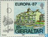 Timbres-poste - Gibraltar - Europe – Architecture moderne