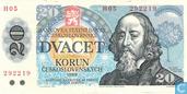 Billets de banque - Bankovka Statni Banky Ceskoslovenske - Korun la Tchécoslovaquie vingt