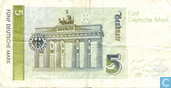 Billets de banque - Deutsche Bundesbank - Bundesbank, 5 D-Mark en 1991 (a)