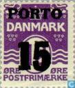 Postage Stamps - Denmark - Digit ' wave ' type with imprint