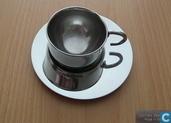 Divers - Kop en schotel - Stainless steel Italian design espresso cup