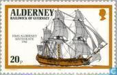 Timbres-poste - Aurigny - Navires de guerre