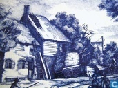 Keramiek - Delfts Blauw - Delfts Blauw wandbord - De Herfst