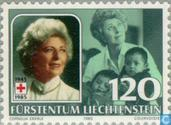 Postage Stamps - Liechtenstein - Gina Red Cross president 40 years