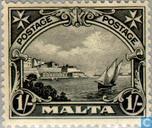 Postzegels - Malta - Inschrift POSTAGE