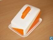Kaasstolp met oranje dessin