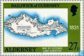 Briefmarken - Alderney - Länderkarten