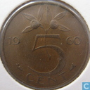 Coins - the Netherlands - Netherlands 5 cent 1960