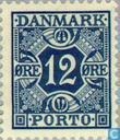 Postage Stamps - Denmark - Digit and four crowns
