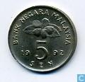 Malaysia 5 sen 1992