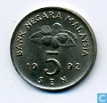 Munten - Maleisië - Maleisië 5 sen 1992