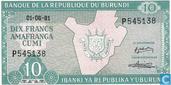 Billets de banque - Banque de la République du Burundi / Ibanki ya Republika y'Uburundi - Burundi 10 Francs