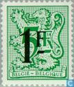 Postage Stamps - Belgium [BEL] - Digit on heraldic lion and streamer, with overprint