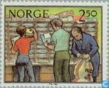 Briefmarken - Norwegen - Arbeiten am Bahnhof