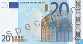 Billets de banque - Zone Euro - 2002 Dated 'Signature J.C. Trichet' Issue - Zone Euro 20 Euro (Specimen)