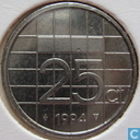 Coins - the Netherlands - Netherlands 25 cents 1994