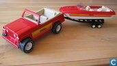 Model cars - Tonka - jeepster, boat and trailer