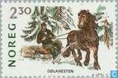Postzegels - Noorwegen - Paardenrassen
