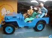 Kuifje blauwe jeep