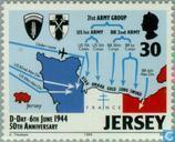 Timbres-poste - Jersey - invasion de la Normandie 50 années