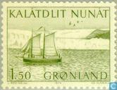 Briefmarken - Grönland - Post Transport-Segelboot