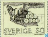 Briefmarken - Schweden [SWE] - Holztransport auf Schlitten