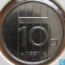 Coins - the Netherlands - Netherlands 10 cents 1991