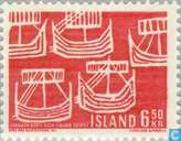 Postage Stamps - Iceland - Viking ships