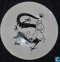 Keramiek - Kuifje - De Blauwe Lotus - zwart-wit : Plat bord (30 cm)