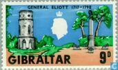 Briefmarken - Gibraltar - Elliot, Georg-August 1717-1790