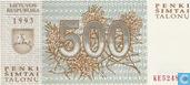 Banknoten  - Lietuvos Bankas - Litauen 500 Talonas
