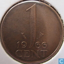 Monnaies - Pays-Bas - Pays-Bas 1 cent 1966 (petit nombre)