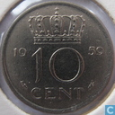 Coins - the Netherlands - Netherlands 10 cents 1959