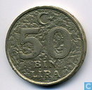 Monnaies - Turquie - Turquie 50 bin lira 1999