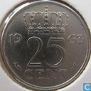 Coins - the Netherlands - Netherlands 25 cent 1963