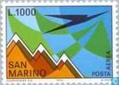 Postage Stamps - San Marino - Stylized aircraft and mountain