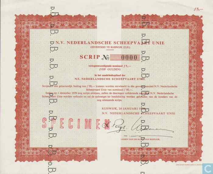 N v nederlandsche scheepvaart unie scrip 5 gulden n for Gulden interieur b v