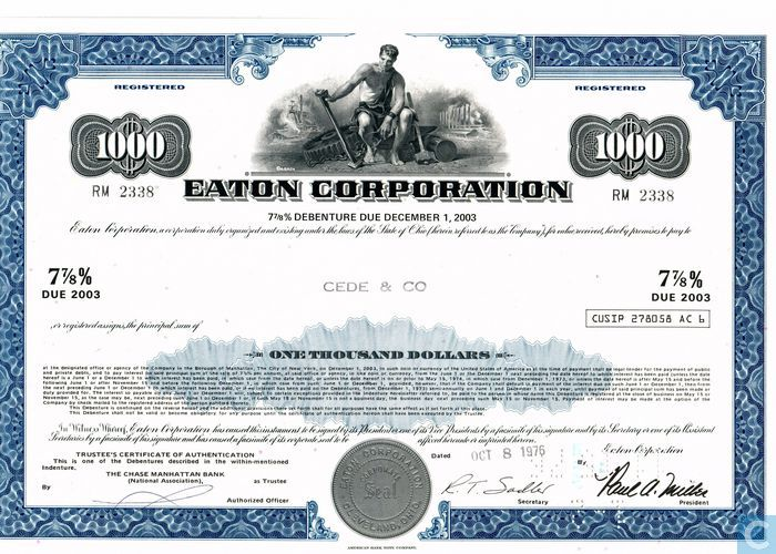 1596601 Eaton Corporation 7 7 8 Debenture Bond Certificate 1 000 on Number Bonds To 10