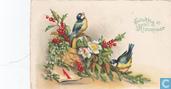 Gelukkig Nieuwjaar - Mezen in hulst met kalenderblad