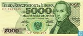 Poland 5,000 Zlotych 1988